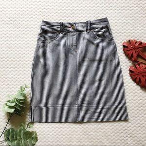 Boden Navy Blue and White Striped Denim Skirt